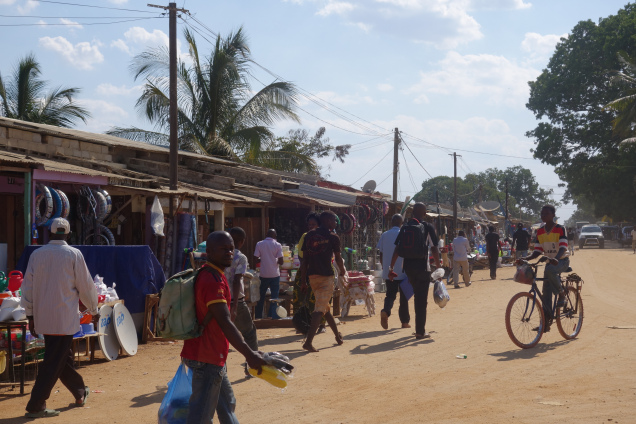 """I haven't built up the confidence or found a good opportunity to take pictures of the market just yet, so this one of the market entrance belongs to travel bloggers (https://headoverheels2014.com/category/mozambique/) who interestingly say, """"For any travelers I definitely recommend Montepuez. Possibly my favourite town of the whole journey."""""""