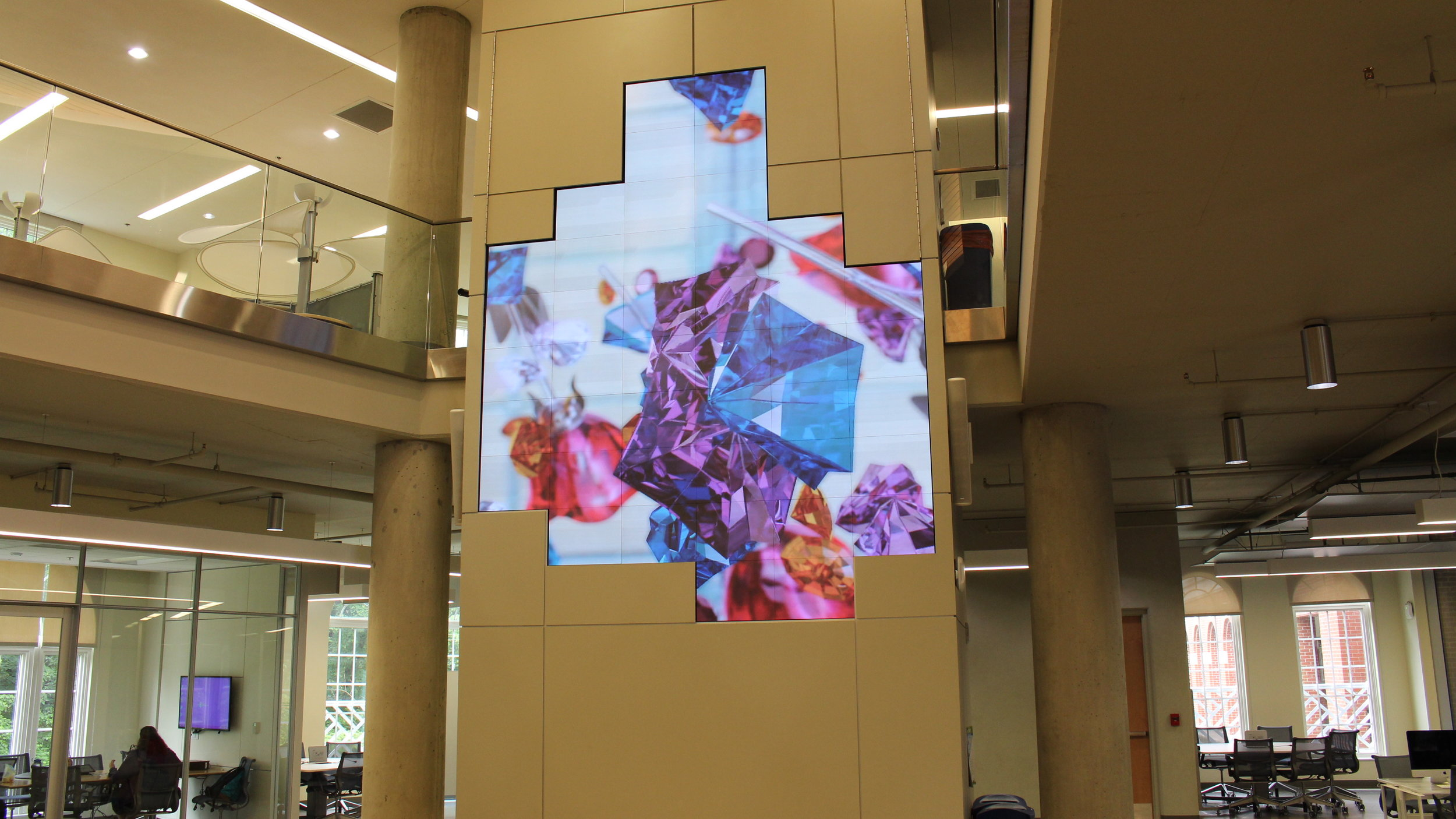 Crystals, Edition of 5, 2 APS, The University of Mary Washington, Video Wall, Fredericksburg, Virginia   Video Exhibition Featured, A Moving Exhibition Space,