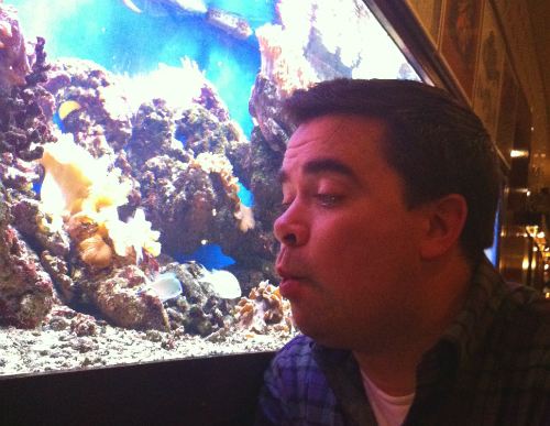 Being silly with the fishes at Lucius