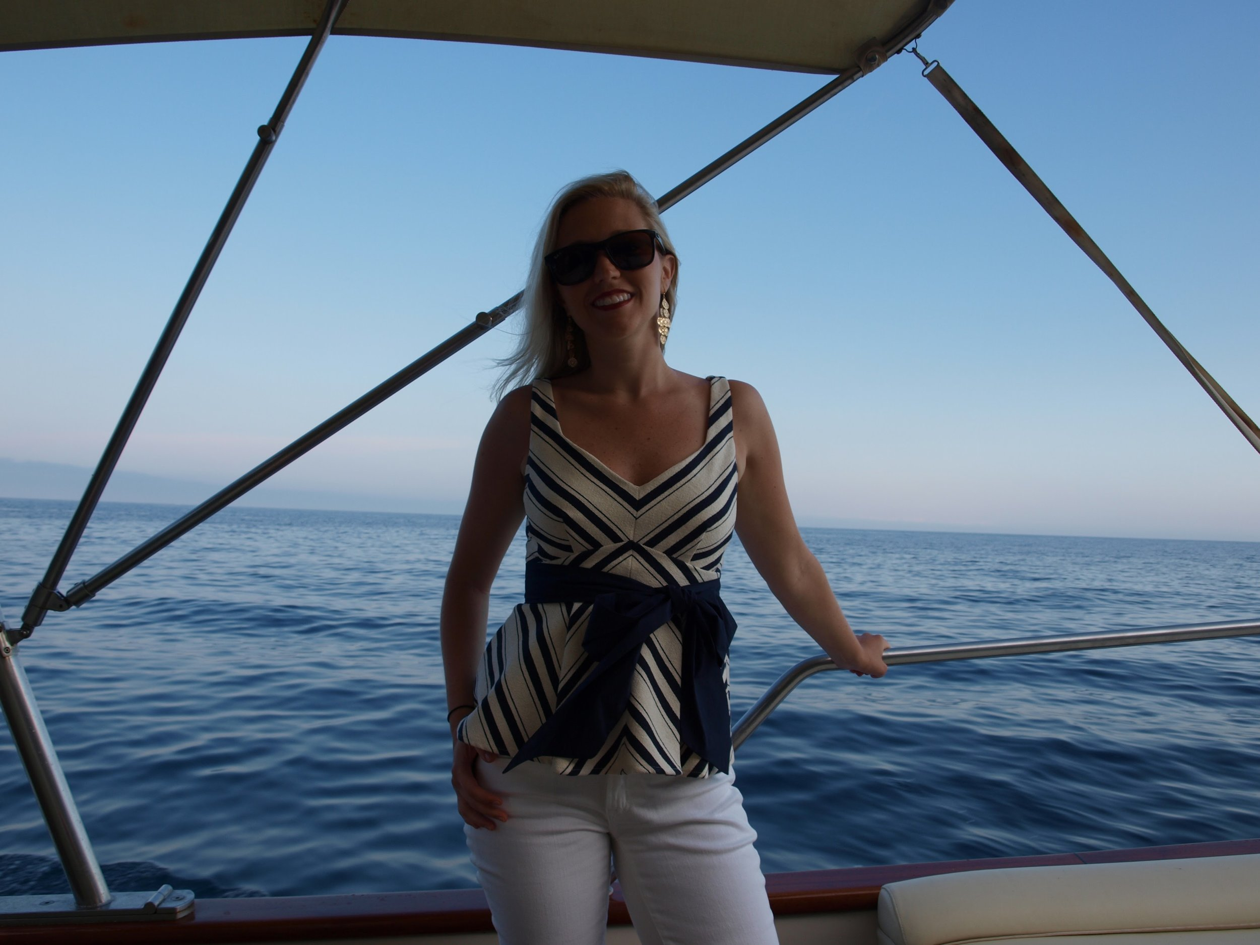 Aboard Casa Angelina's private boat to have dinner in Capri