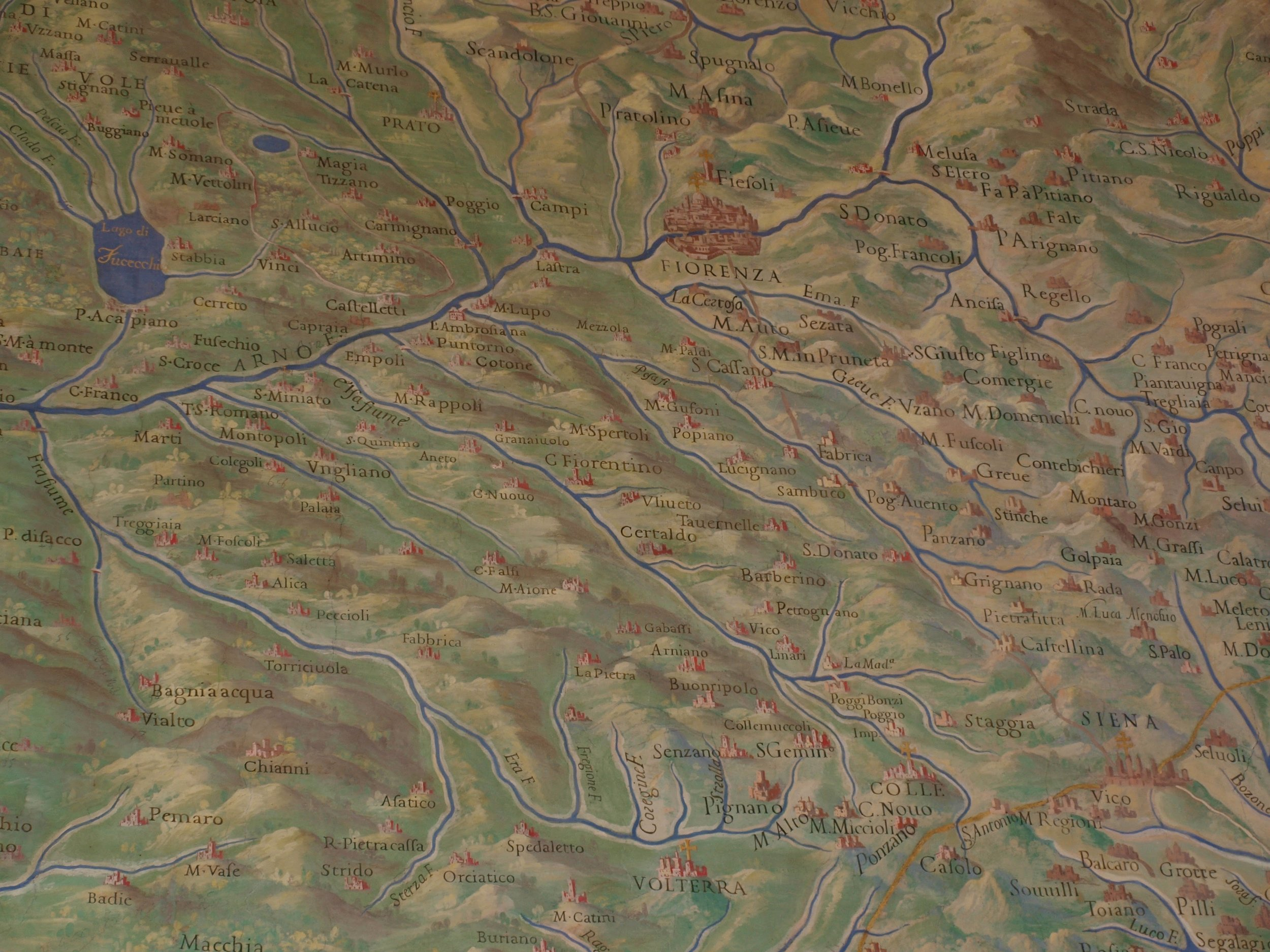 Old map of the Florence area in the museum...I spy Certaldo <3