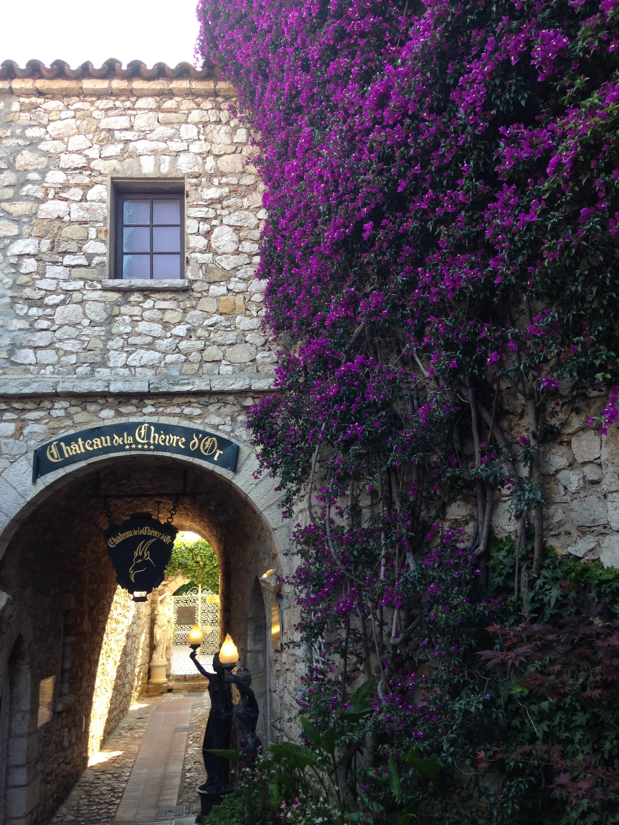Entrance to Chateau de la Chevre d'Or hotel