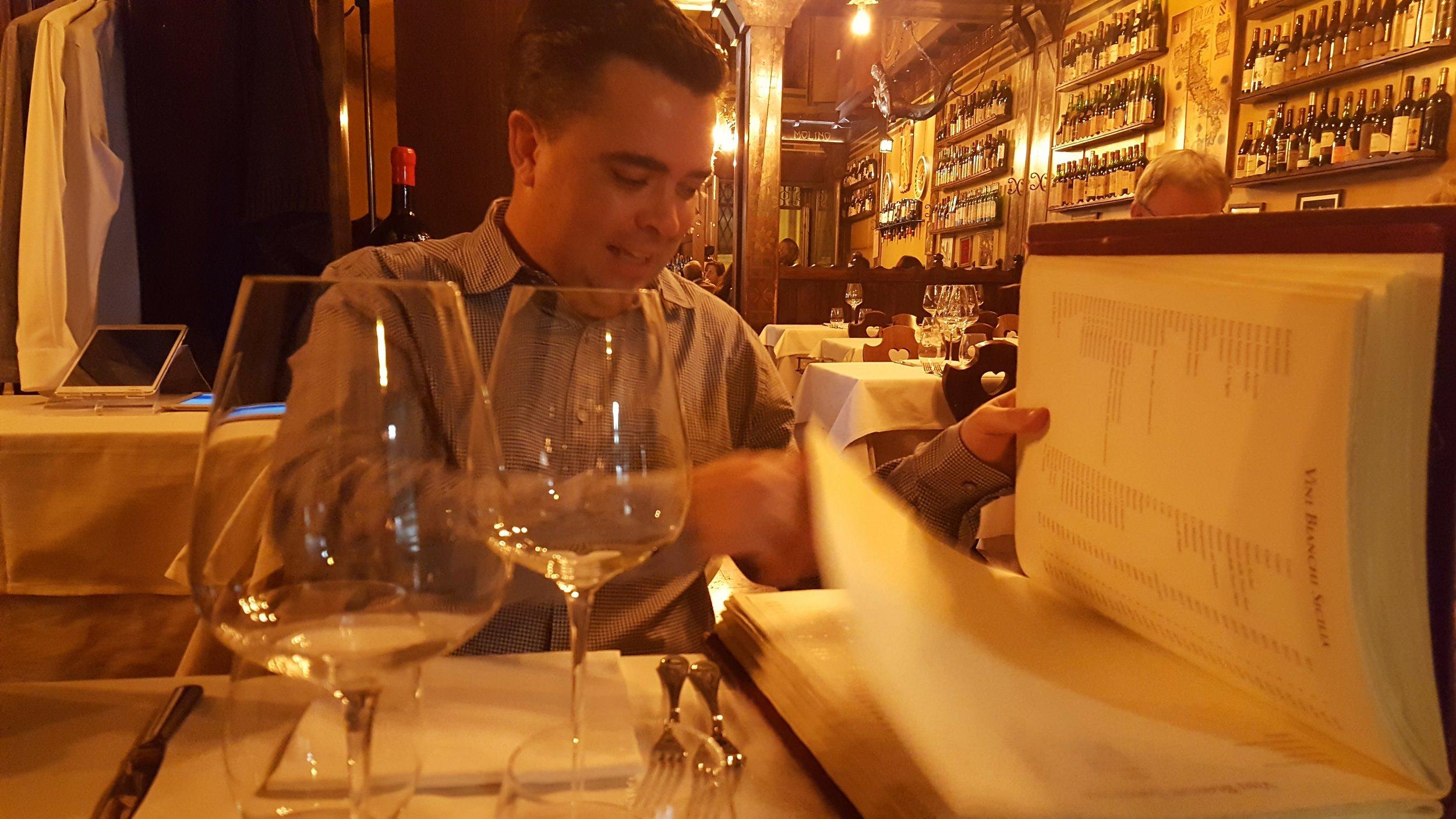 Excited at the wine list at Antica Bodega del Vino, Verona