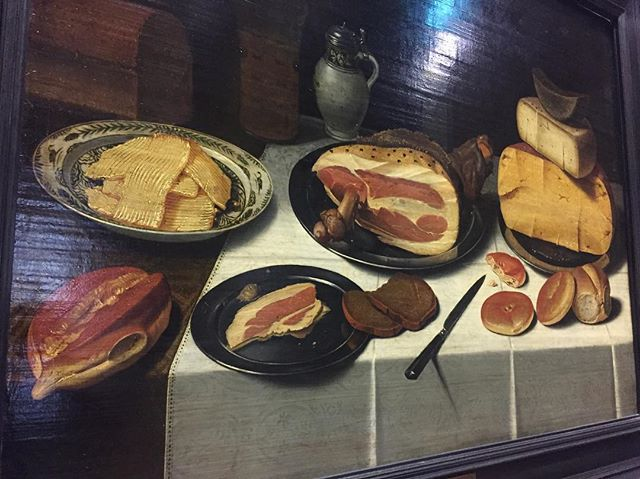 Still life painting  of the medieval era #delicious #europeancuisine #paris #inspiring #ham #cheese #bread