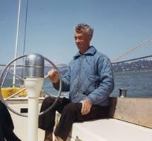 Myron Spaulding at the helm on San Francisco Bay