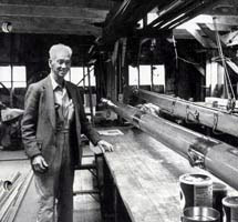 Myron Spaulding in the spar loft at the Spaulding Boatworks (1995)