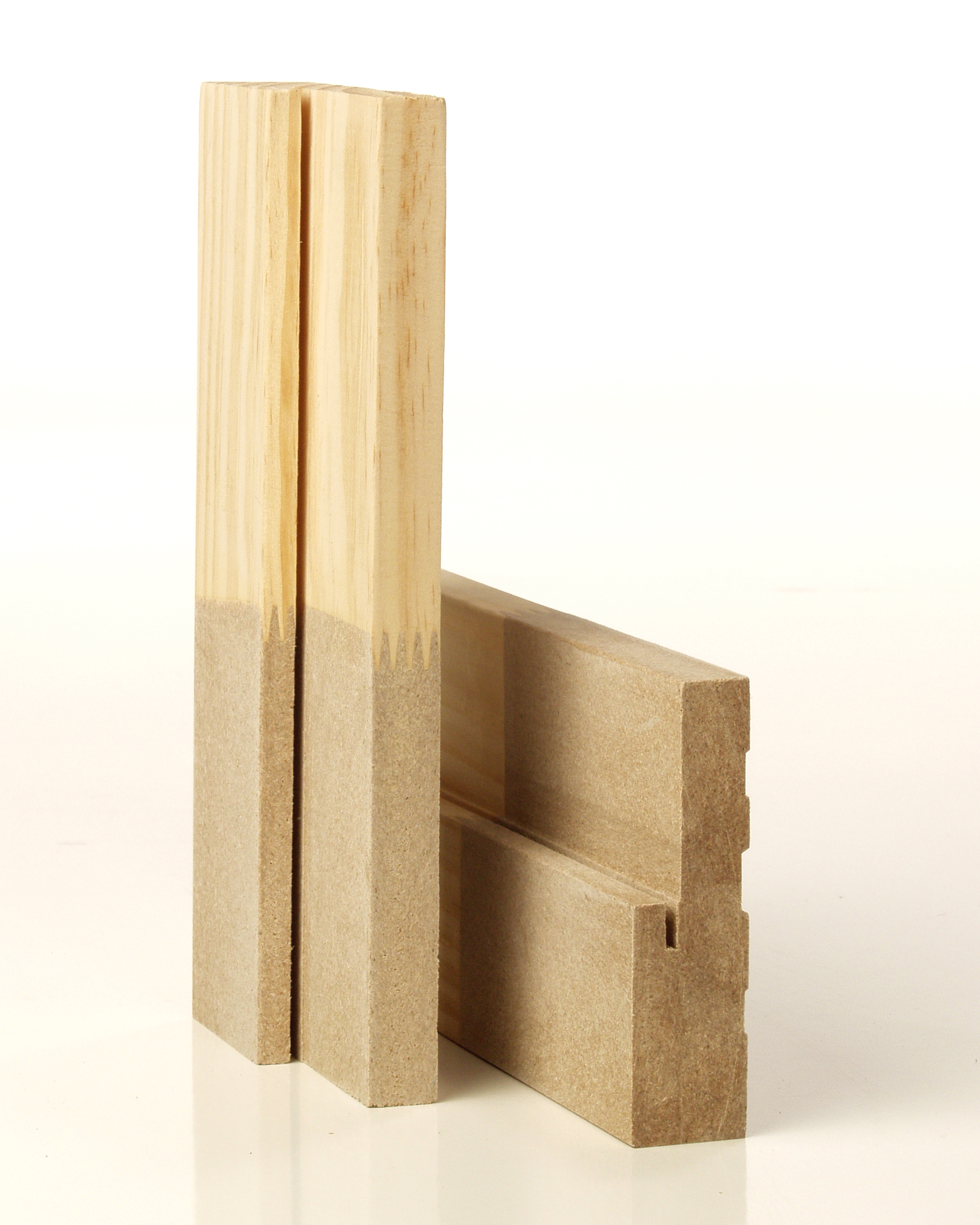 Milled wood jamb sitting on white backdrop