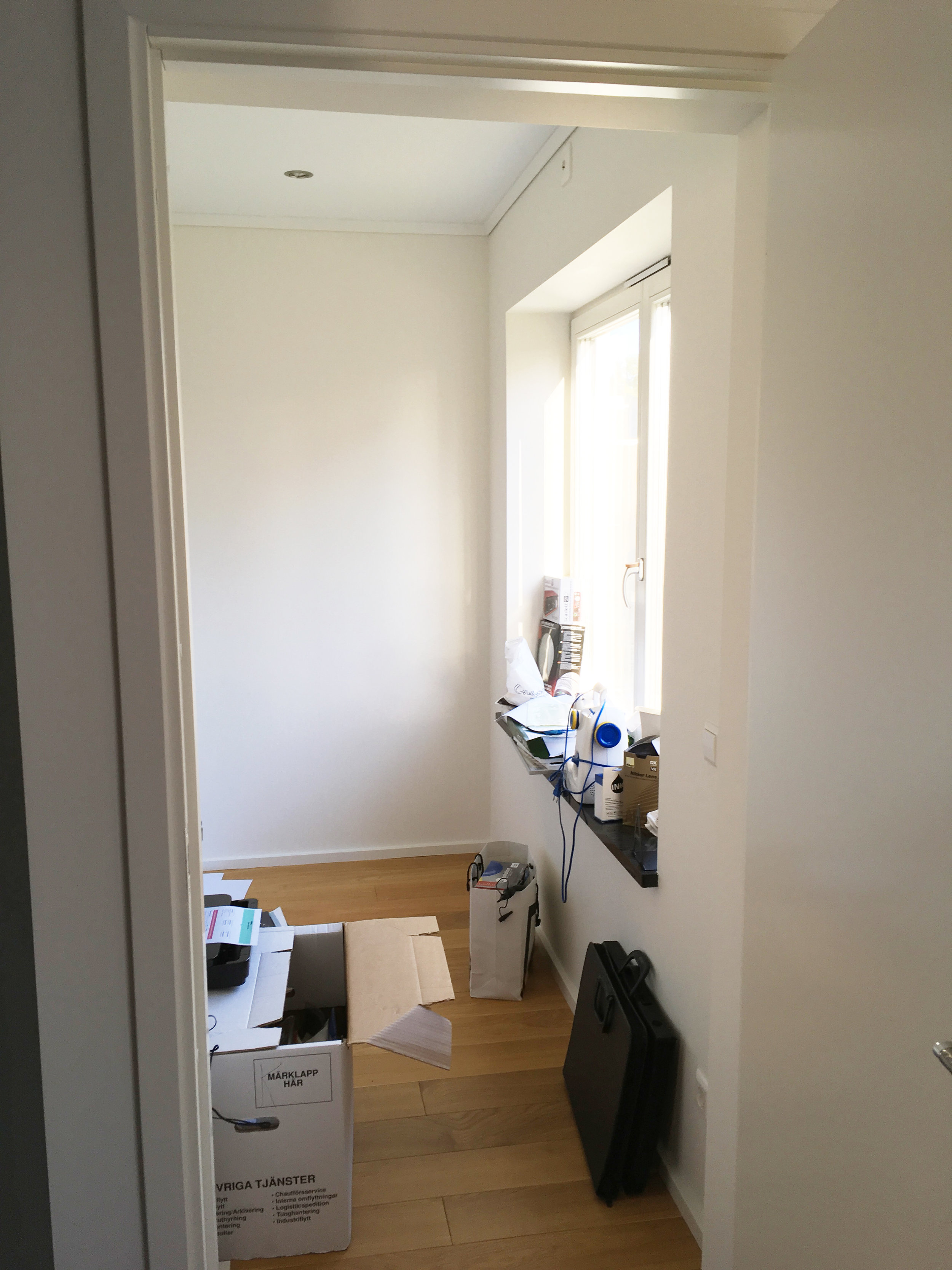Here's the tiny space, that we've been using as a storage room. It's really small, but at least it's got a window!