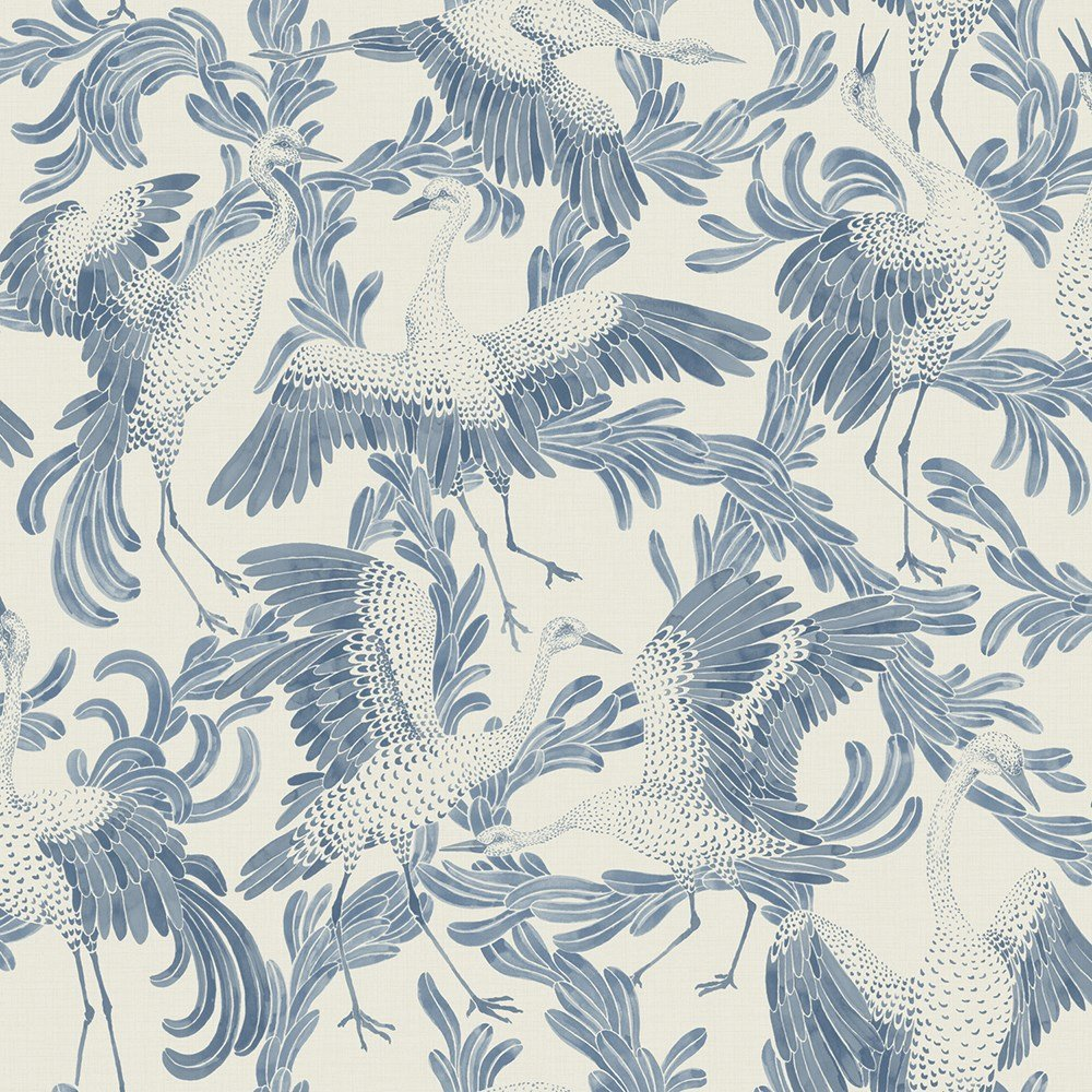 Beautiful blue handpainted dancing cranes!