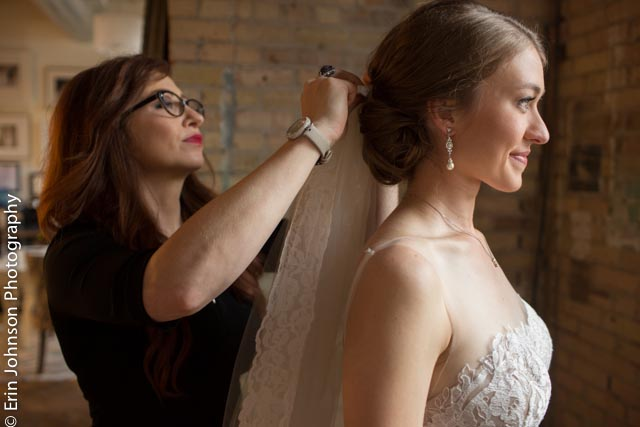 A bride prepares for her big day in our getting-ready space.