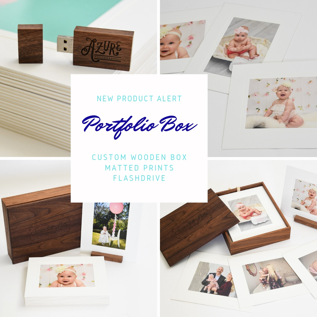 new product alert - Announcing our new Portfolio Box, a timeless way to display your favorites memories. Whether it is baby's first year, high school graduation, a wedding or another of life's milestones, preserve and display your images with this custom designed keepsake.