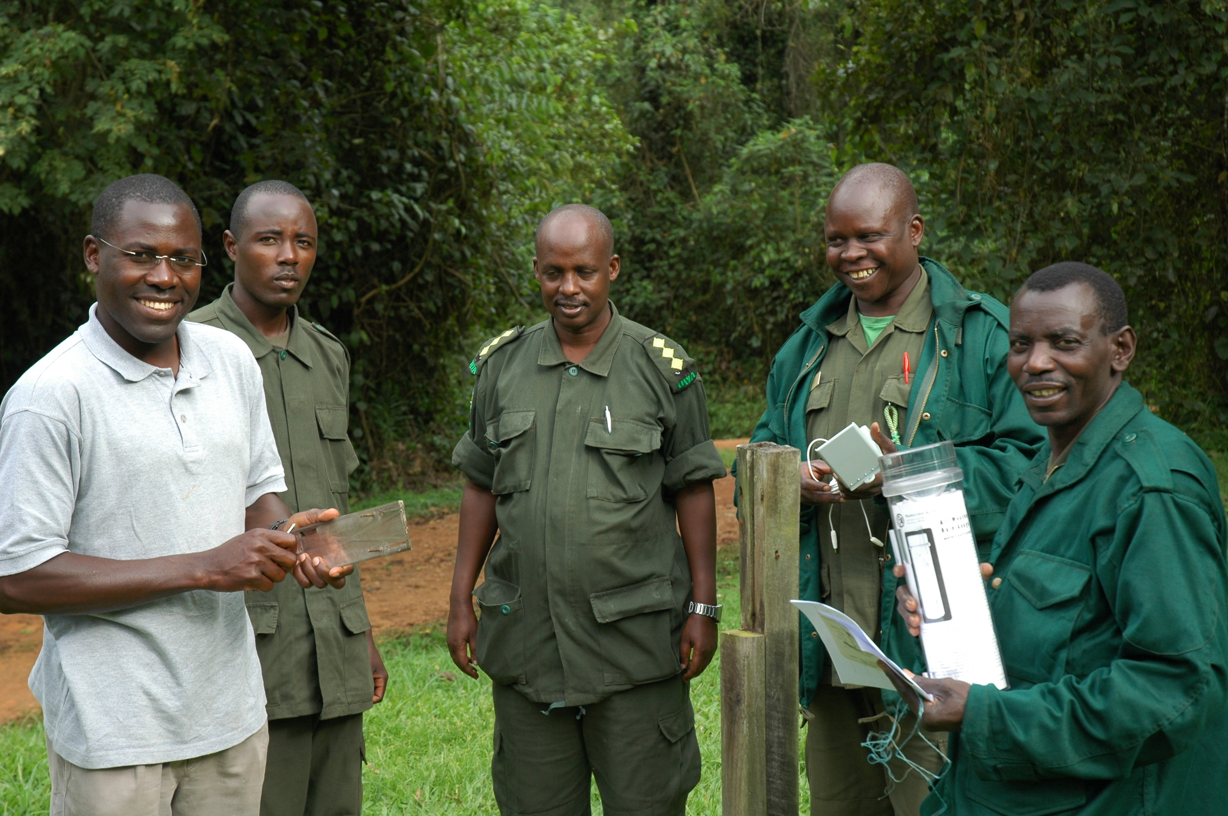 Dr. Patrick Omeja (Project co-Director) working with Staff of the Uganda Wildlife Authority