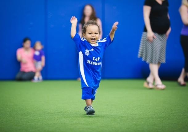 toddler soccer celebration