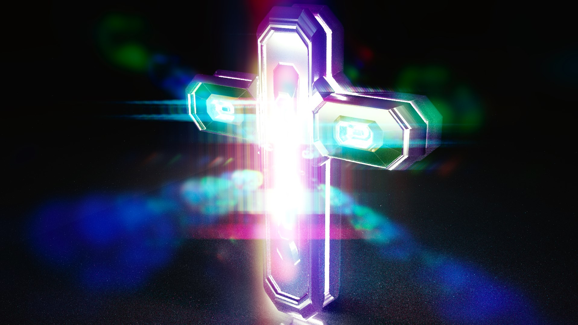 Unnatural Color-Lighted Cross
