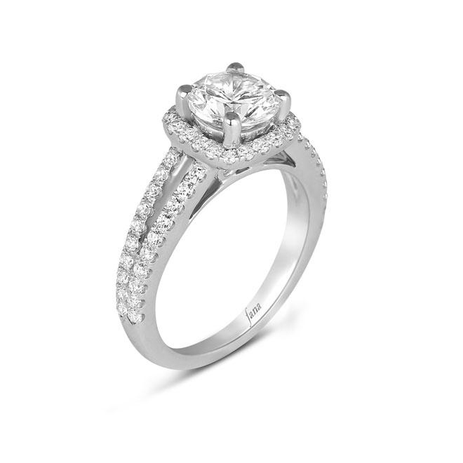Cushion Shape Diamond Halo Engagement Ring