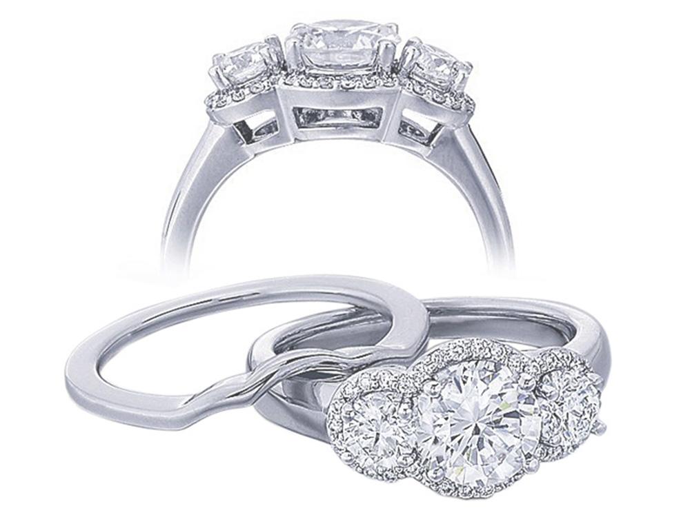 Diamond Three Stone Halo Engagement Ring
