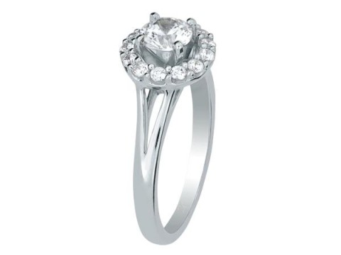 Diamond Halo Engagement Ring with Split Shank