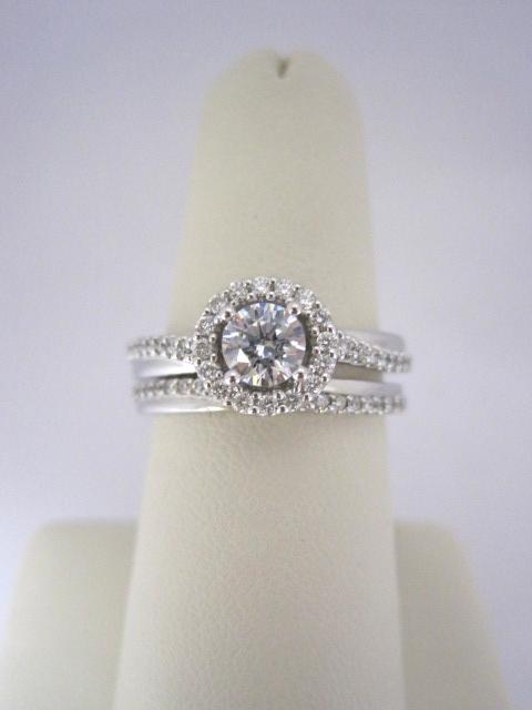 Slanted Diamond Halo Engagement Ring