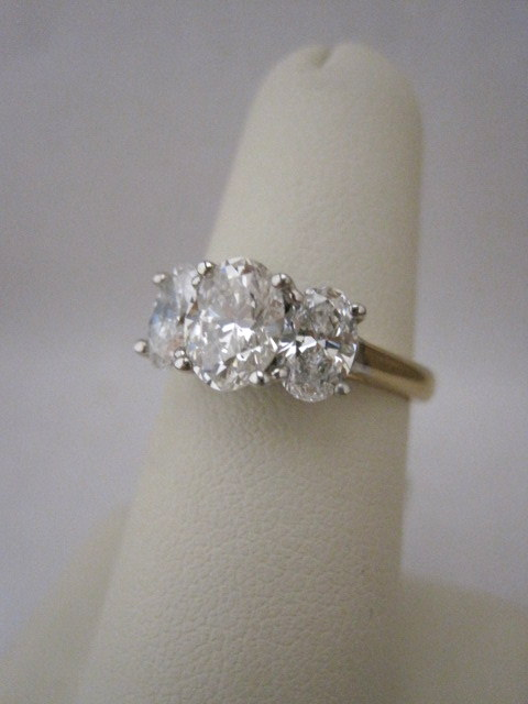 Three Stone Oval Engagement Ring with 14k Yellow and White Gold