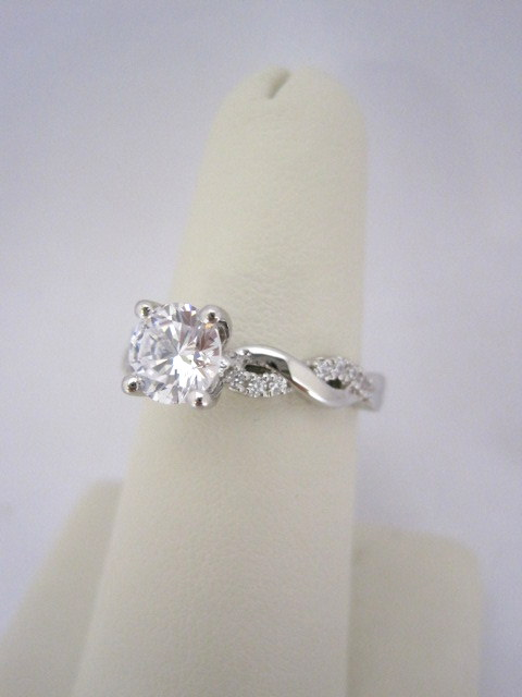 Weave Style Diamond Engagement Ring