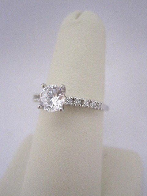 Straight Row Diamond Engagement Ring