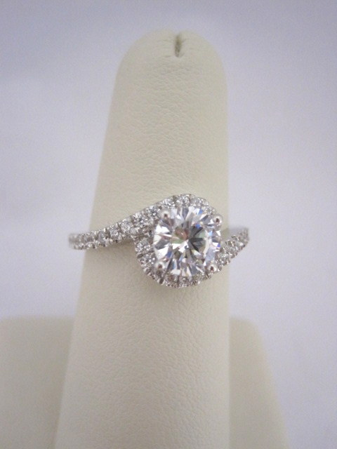 Bypass Style Halo Diamond Engagement Ring