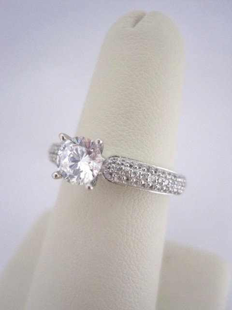 Pave' Set Diamond Engagement Ring
