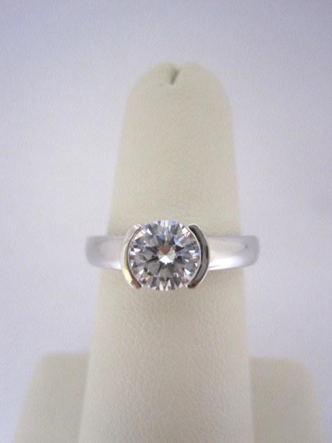 Half Bezel Diamond Solitaire Engagement Ring