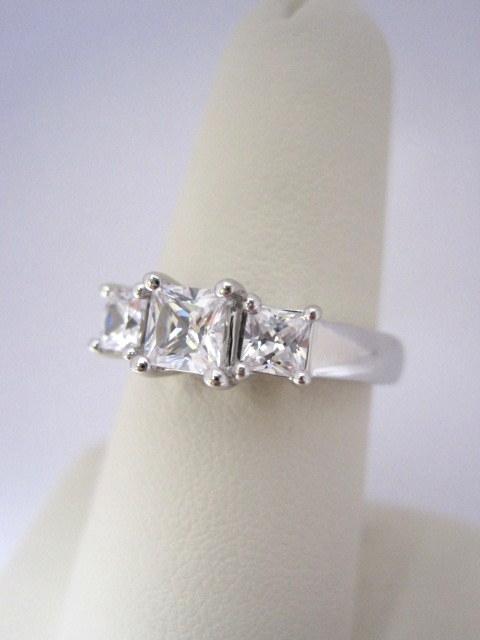 Diamond Princess Cut Three Stone Engagement Ring