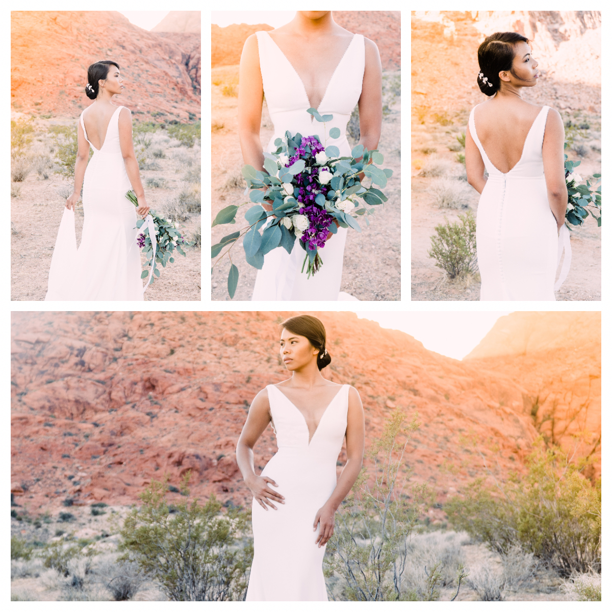 My first bridal shoot and I am just so in love with these photos. Not only was Karenn absolutely stunning but her dress accentuated her features beautifully.  We met up at Calico Basin in Red Rock Conservation which is about 15 minutes west of Las Vegas and shot during golden hour. Red rocks + golden sunshine = all the heart eyes.  Venue: Calico Basin  Florals: Bailey Kesl  Dress: Bowtie Bridals Exclusive