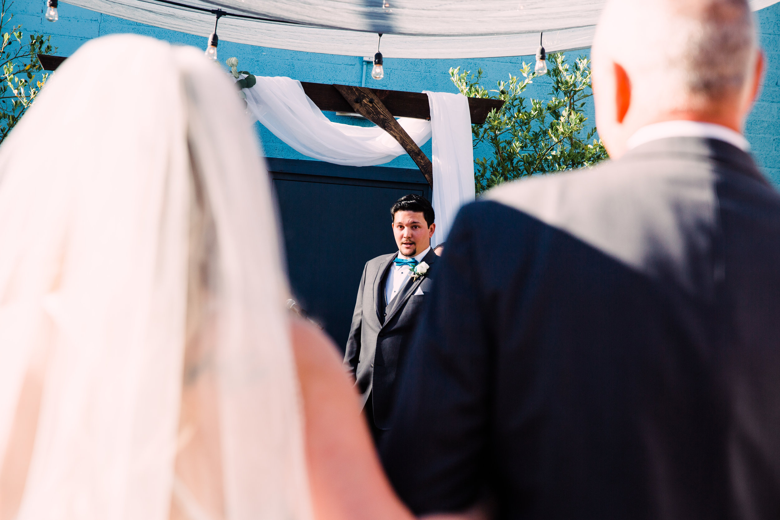 Aaron's face when he saw Courtney walking down the aisle for the first time