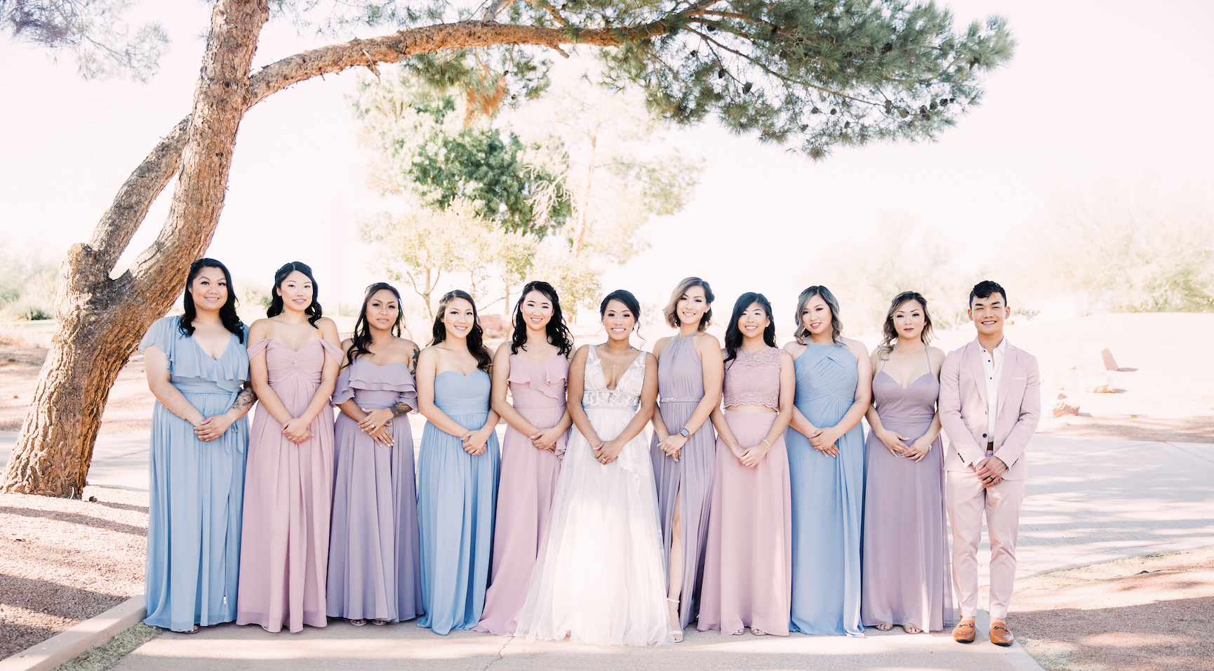 "Azazie Bridesmaid Dresses: THOSE COLORS THOUGH. I have to admit, I had started calling them out by dress color at some point during the day and it stuck, haha. ""HEY BLUES GET OVER HERE"""