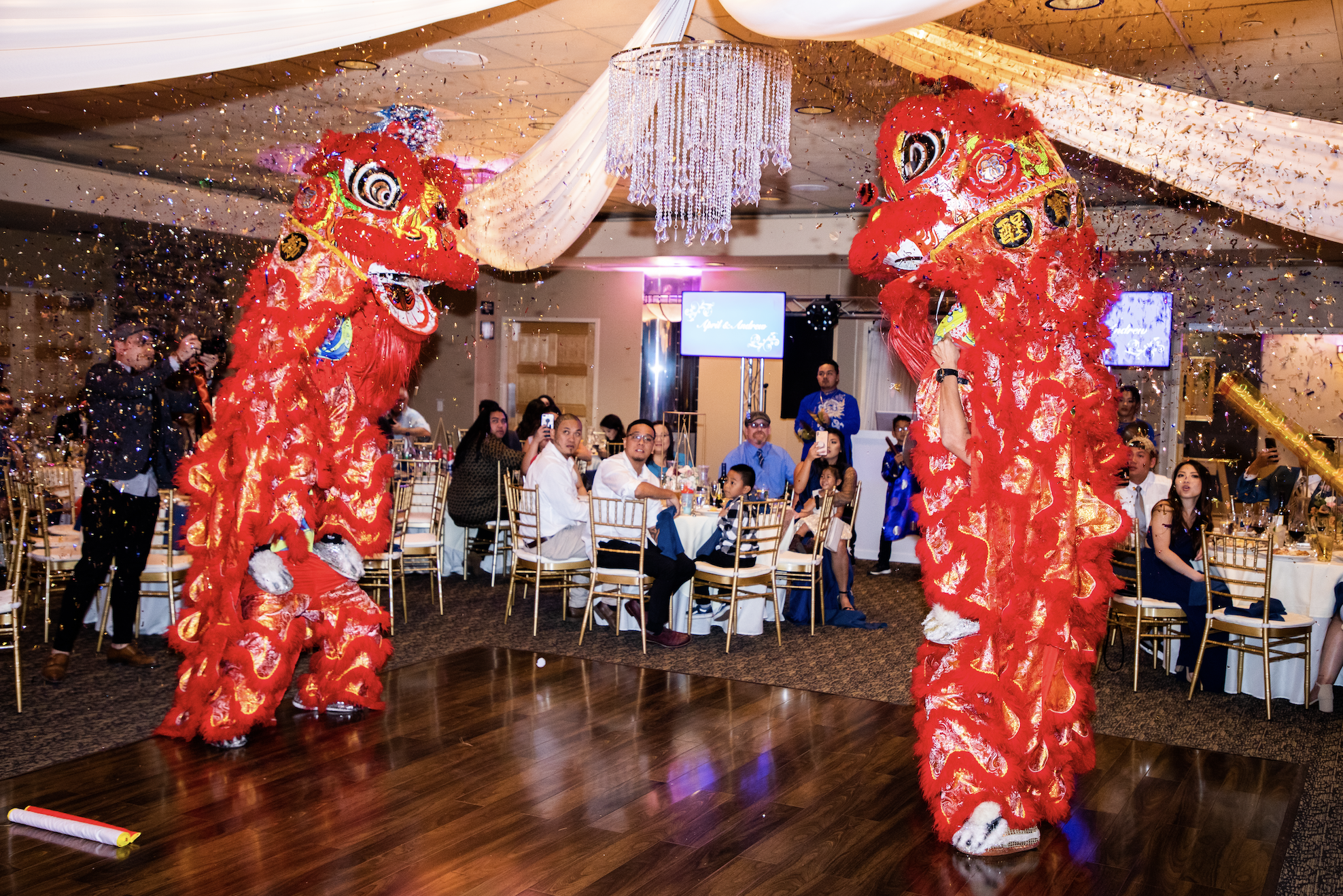 Vietnamese wedding lion dance