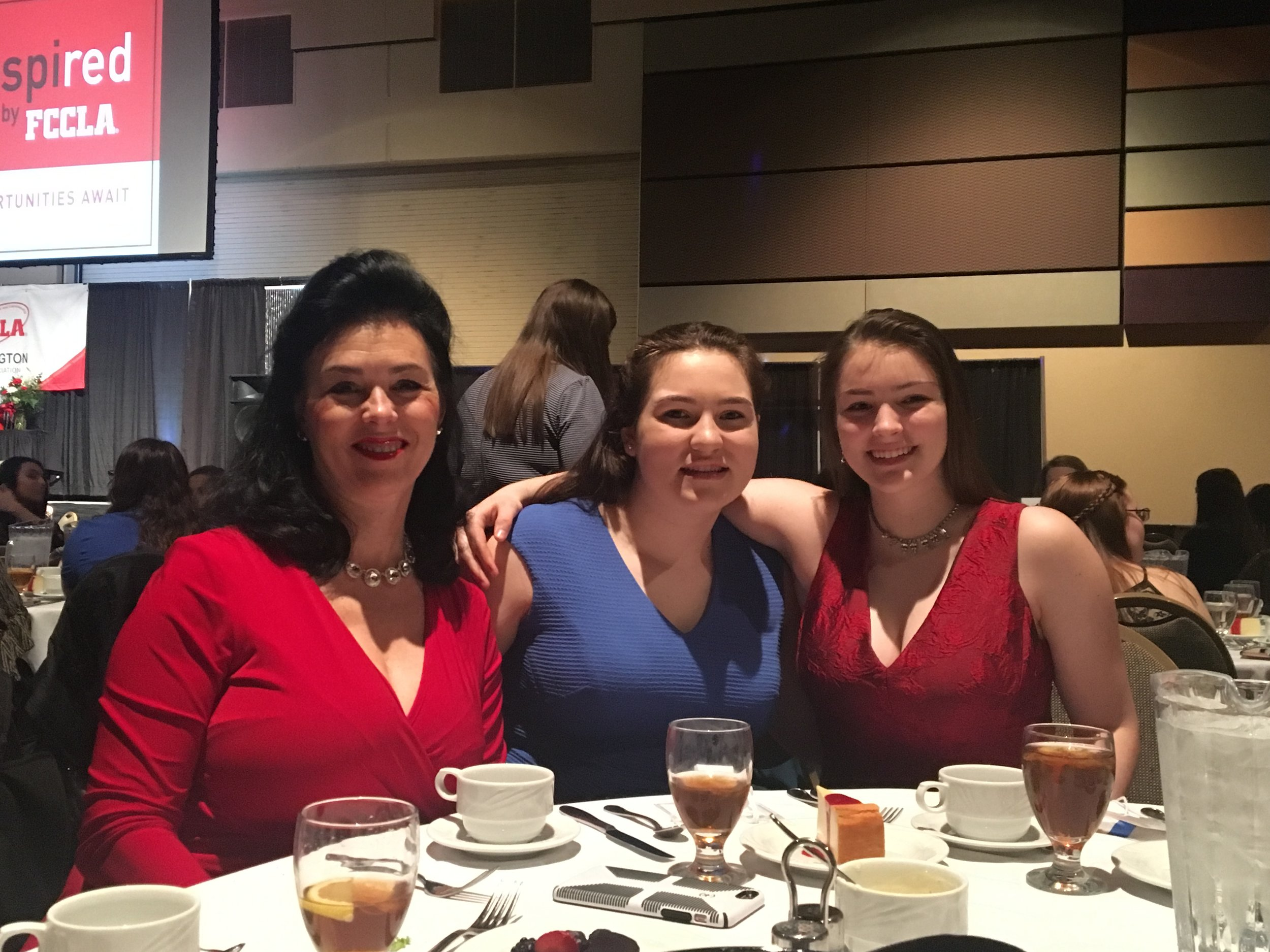 From Left to right, Liberty High FCCLA adviser Donna Abbey, New State Vice President Nicole Winters and FCCLA member Erin Abbey at State FCCLA conference banquet.