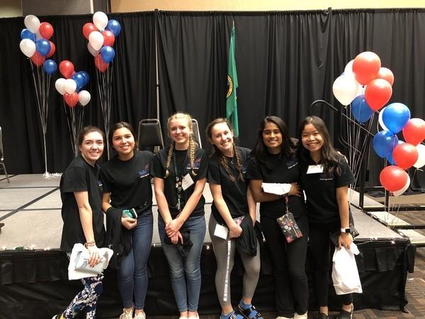 From left to right: Hailey Clark, Isabella Colindres, Zoe Czaja, Sydney Messer, Kelly Senanayake, Sara Waiprakone