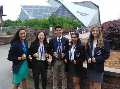 The DECA Finalists: Muskaan Agarwal, Grace Chen, Dawson Oen, Ananya Sahoo and Olivia Morgan