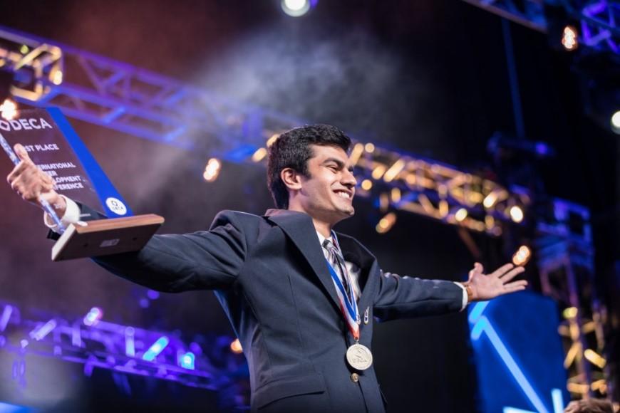 Nishi Kaza, second time DECA world Champion