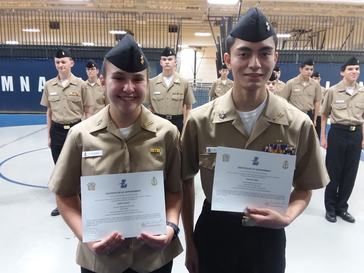 Cadets Kylee Cosand (9) and Dominic Ogino (11) were advanced to Cadet Seaman and Cadet Petty Officer First Class respectivelyafter passing their advancement exams.