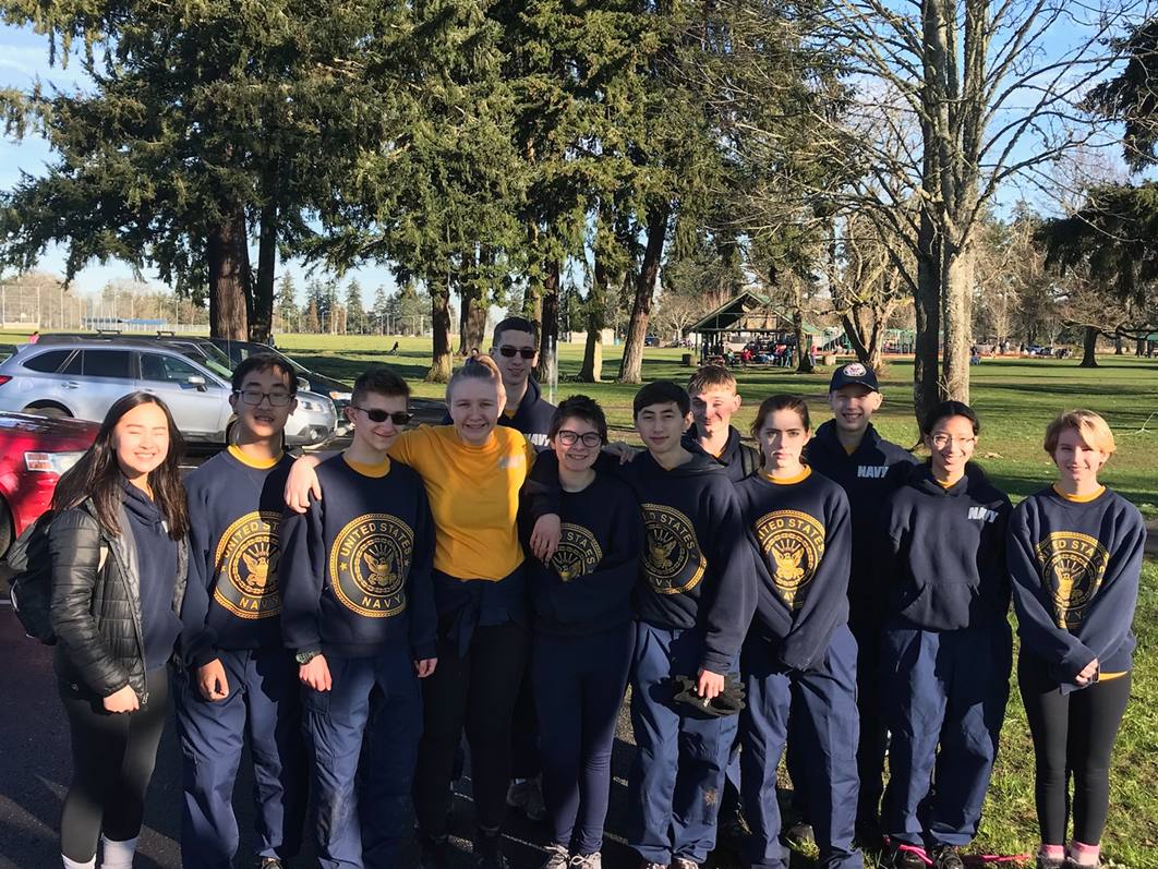 Patriot Company's Orienteering team went to Fort Steilacoom in Lakewood, Wa. to complete against other area teams. The boys team led by Carson Tucker (10) and Kerrek Matson (12) finished in first place and the girls team, led by Sara Bernhard (10) and Dani Widdows (10) finished in second place.Picture from left to right: Taylor-Nicole Le (10), Thomas Le (11), Kerrek Matson (12), Sara Bernhard (10), Evan Rosenfelt (11), Dani Widdows (10), Joe Jury (9), Ryan Hoff (10), Faith Ellis (10), Carson Tucker (10), Sasha Winchester (9) and Olivia Scott (11).
