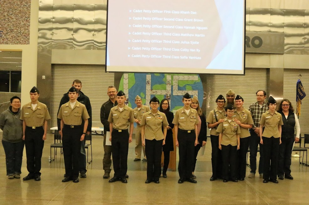 Prior to the relieving process, parents, family, and friends had the opportunity to advance seven Cadets to their next ranks. These Cadets recently passed their respective advancement exams.