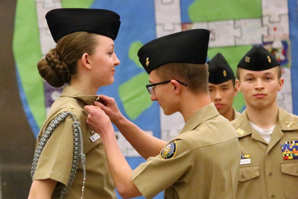 Cadet Chief Petty Officer Olivia Van Ry is advanced to Cadet Senior Chief as she relieves Cadet Senior Chief Kerrek Matson as the Cadet Command Senior Chief.
