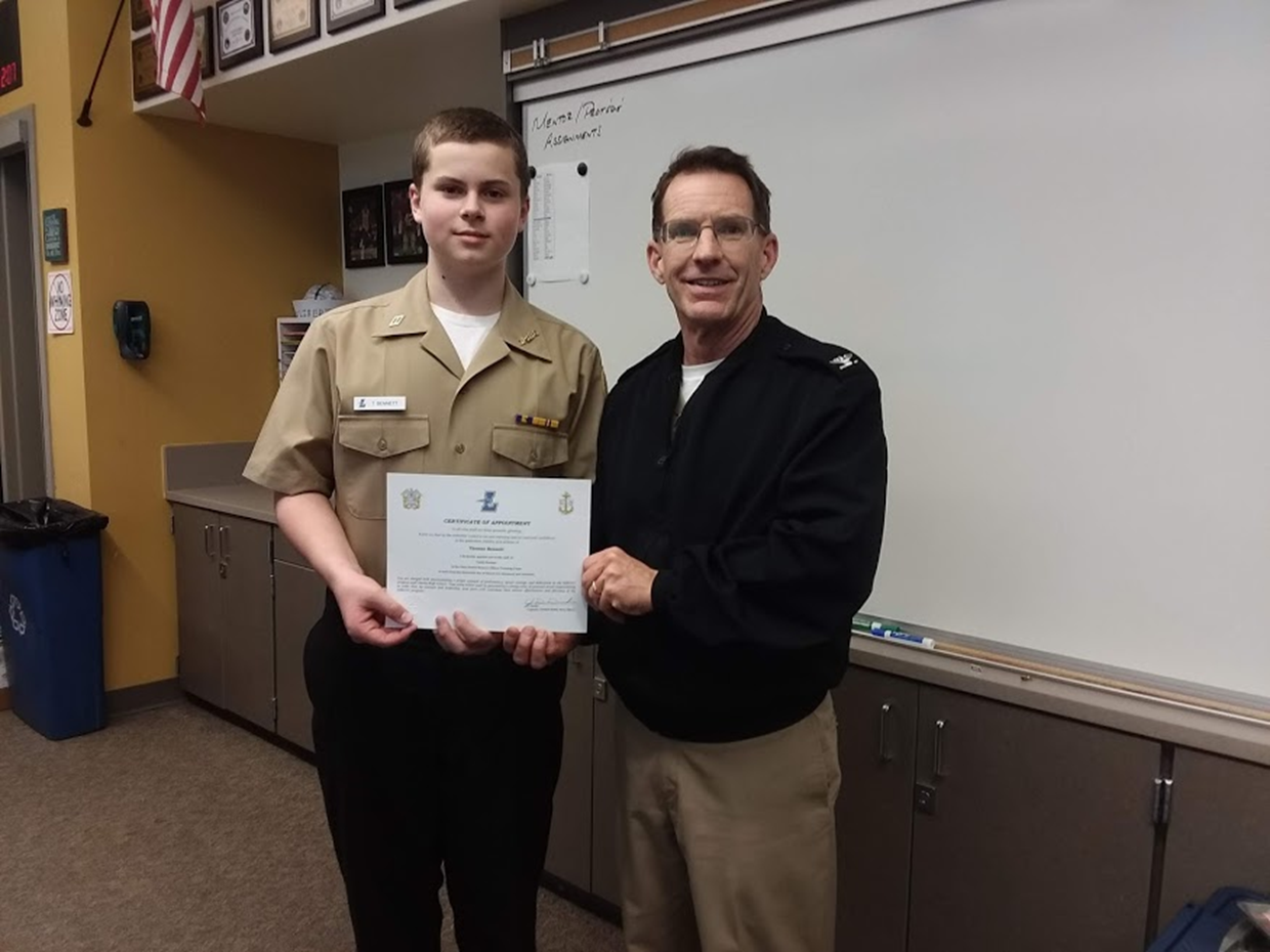 Cadet Seaman Apprentice Thomas Bennett was promoted to Cadet Seaman after passing his advancement exam