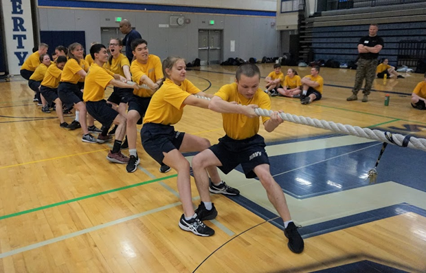 Cadets from Echo Platoon compete against the Cadets of Charlie Platoon in the tug-O-war.