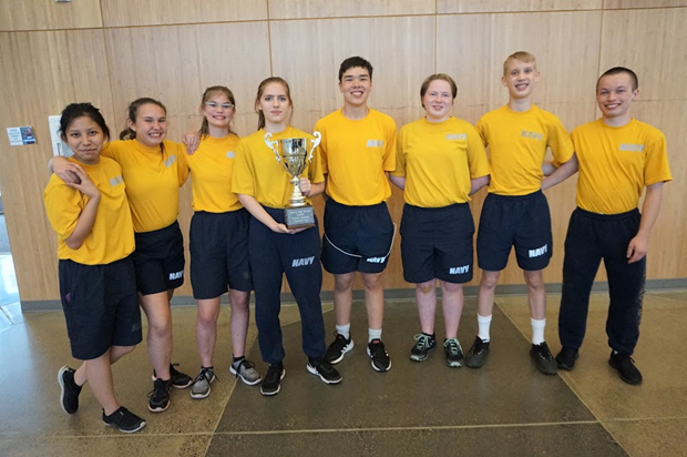 From left to right: The Cadets of Echo Platoon - Mathea Caole, Kylee Cosand, Marissa Carr, Faith Ellis, Julius Sjolie, Katharine Harris, Carson Tucker, and Chandler Alexander scored the most points and were awarded the 2019 Captain's Cup Trophy.