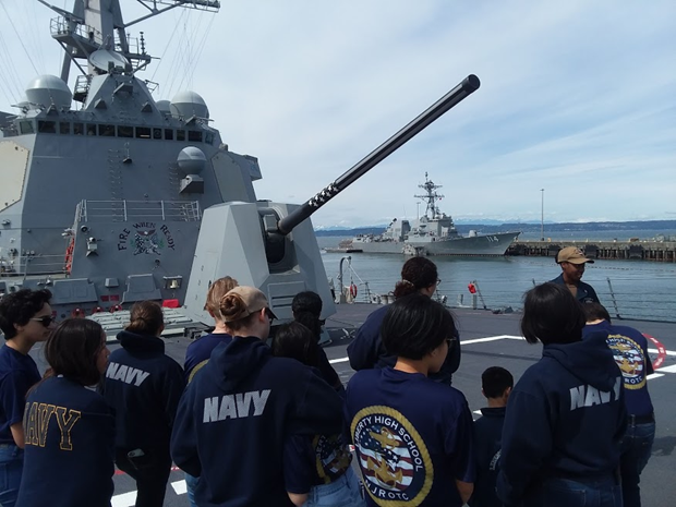 "Cadets learn about the capabilities of the MK45  5""54 gun mount on the USS Gridley."