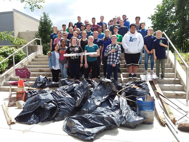 Nearly 400 pounds of garbage and other debris collected and disposed.