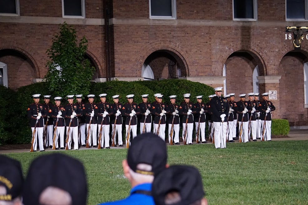 On Friday evening we had the opportunity to see the US Marine Corps Sunset Parade at the Marine Barracks at 8th and I streets (the oldest Marine Barracks in the United States). The Parade includes performances by the President's Own Marine Corps Band, the Marine Corps Drum and Bugle Corps, and Marine Corps Silent Drill Team. It is an awe inspiring performance.