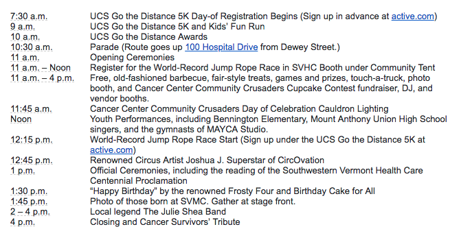 Southwestern Vermont Health Care Announces Centennial Community Day Schedule of Events