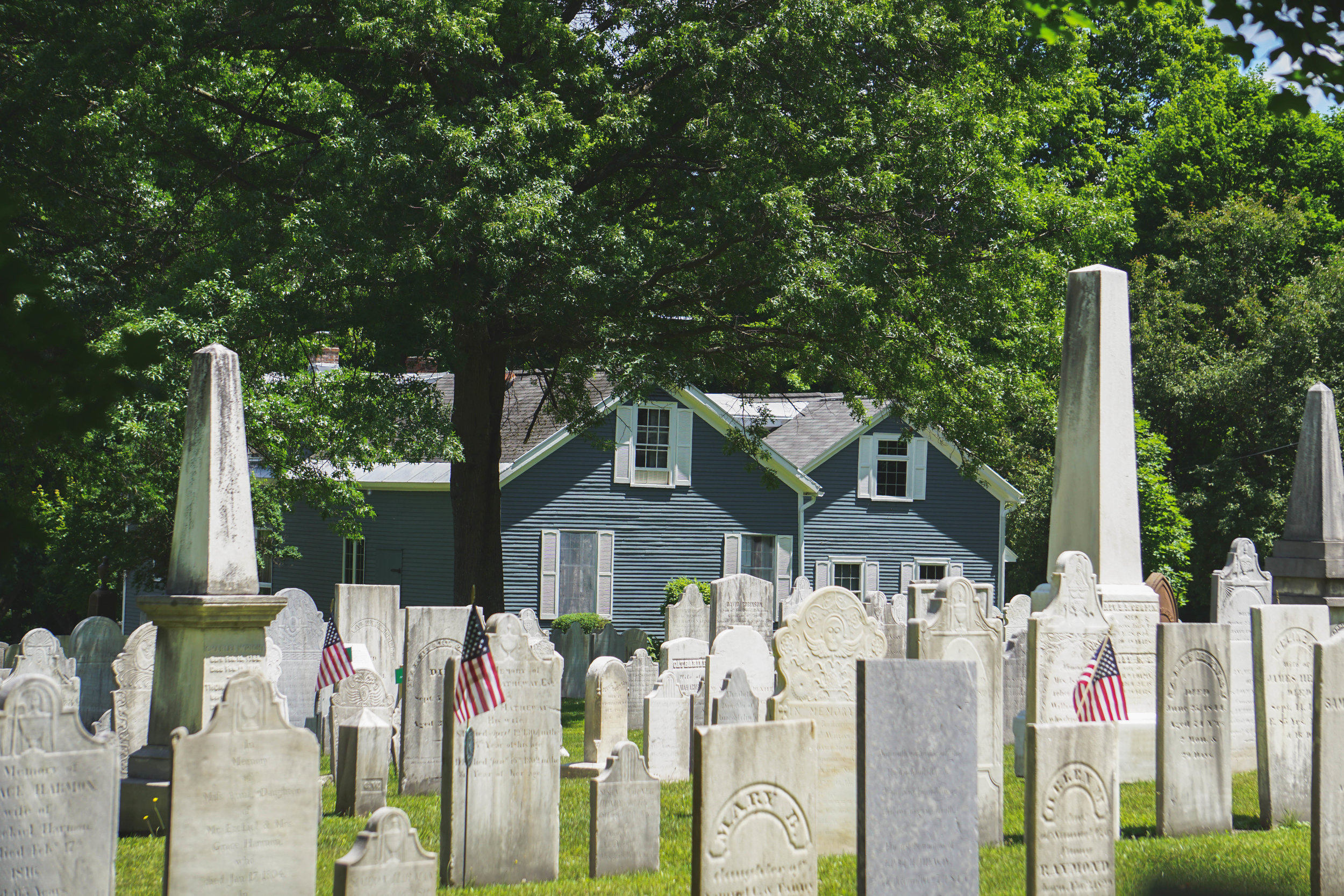 The final resting place of poet Robert Frost in historic Old First Church Cemetary Bennington, VT.