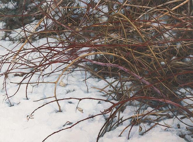 Winter (Brush 2), oil on canvas, 18 x 24, $$2,200